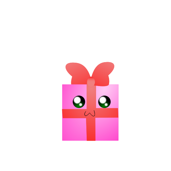 Vector illustration of humanoid pink gift box