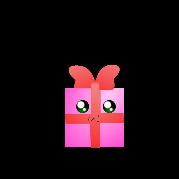 Vector illustration of humanoid pink gift box