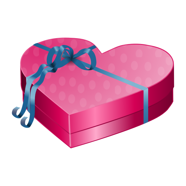 Valentines Day pink gift box with blue ribbon vector clip art