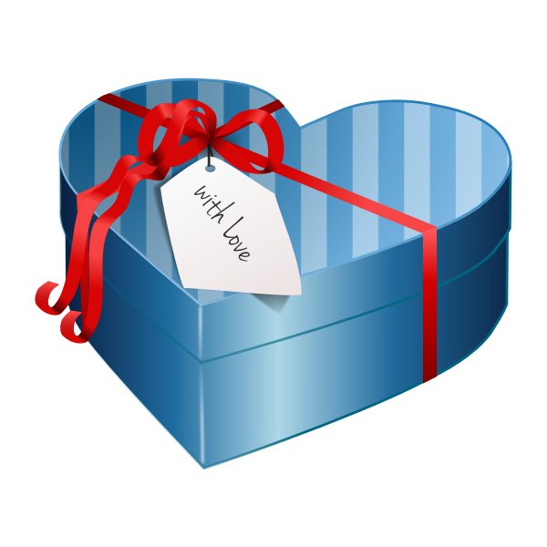 Vector image of blue heart shaped gift box