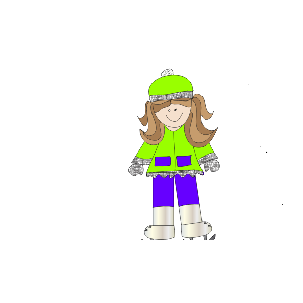 Cartoon vector image of a girl ice skating