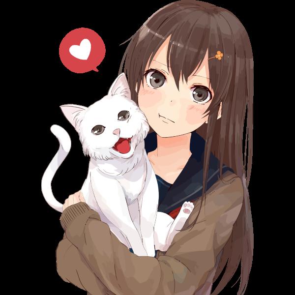 Anime girl with kitten
