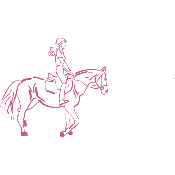 Girl riding a horse vector illustration