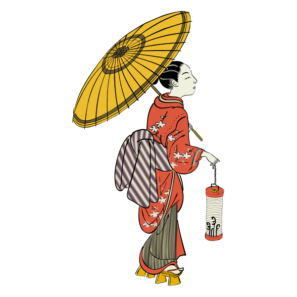 Japanese girl with lantern vector image