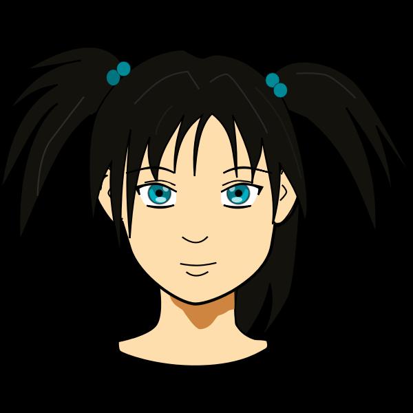 Vector clip art of anime girl with long hair