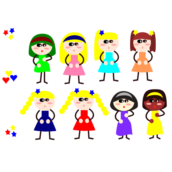 Cartoon girls in different dresses