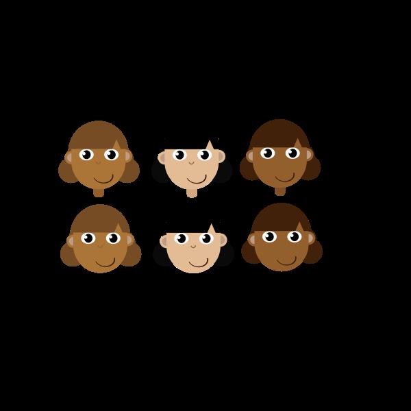 Six girl's head