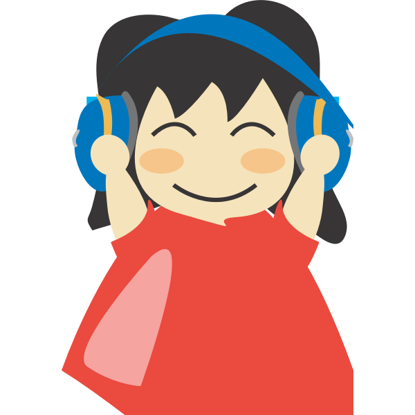Girl with headphones vector drawing | Free SVG