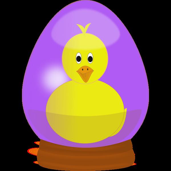 Chick in Easter egg globe vector image