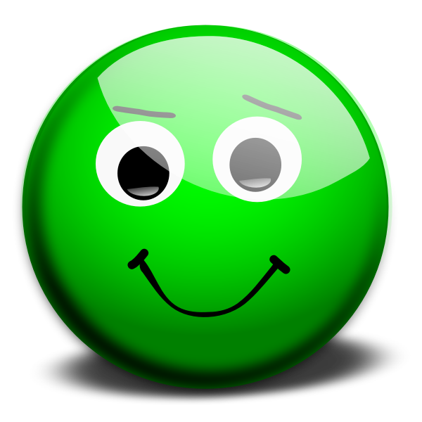 Green happy face vector drawing