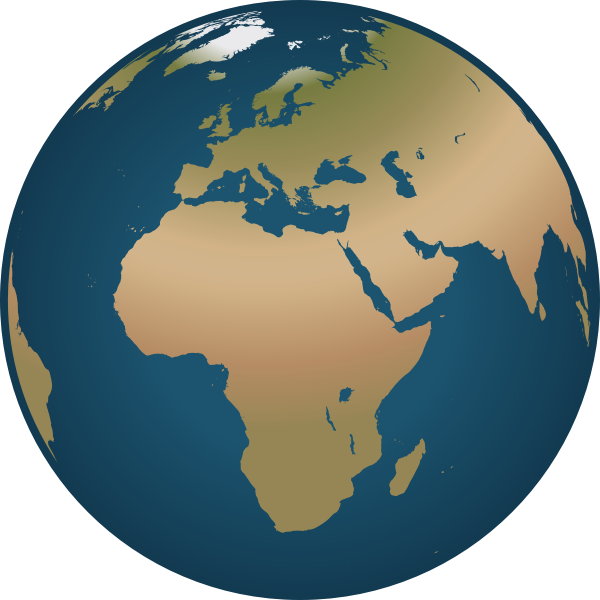 Outline vector drawing of globe facing Europe and Africa