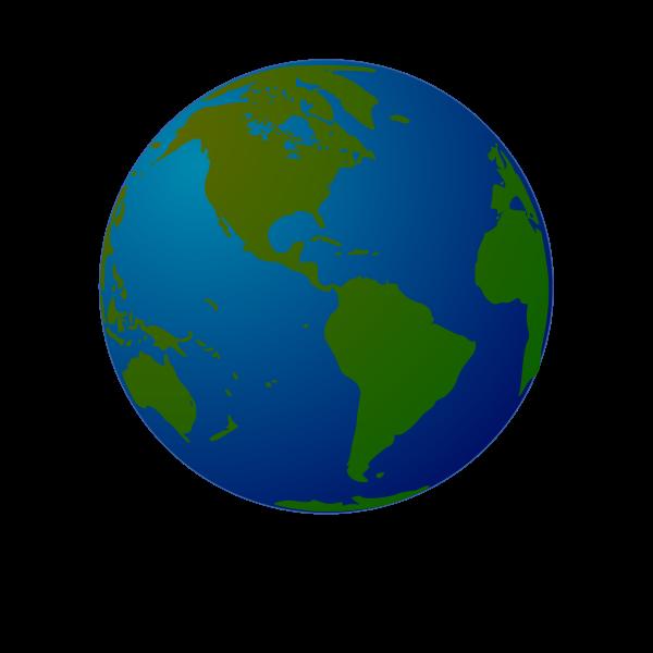 Globe facing North and South America vector drawing