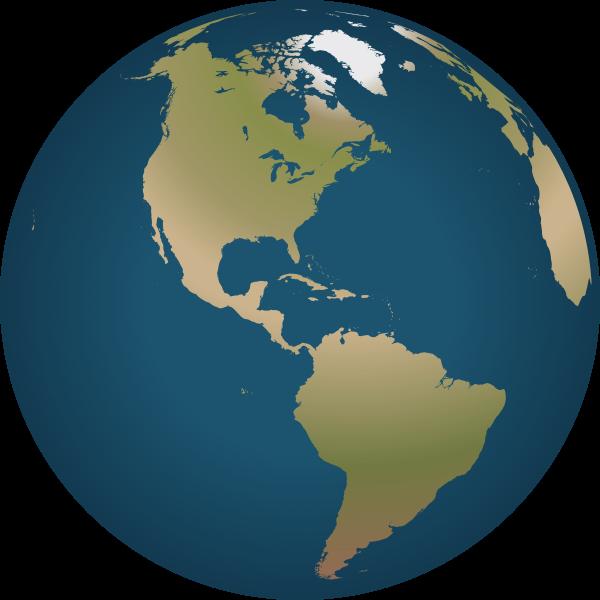 Globe facing America vector image
