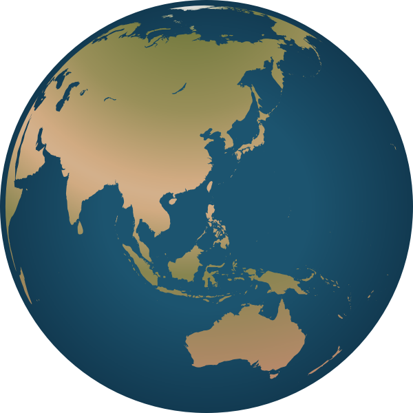 Australia location on globe vector illustration
