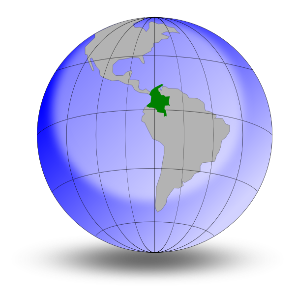 Colombia on globe