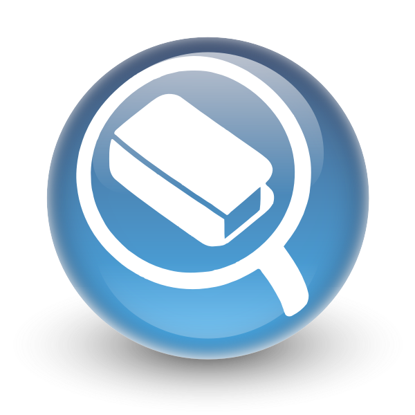 Vector image of round glossy search icon