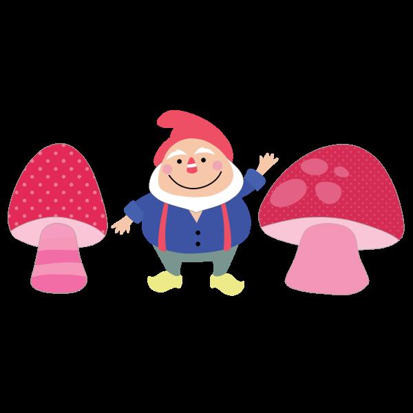 gnome and mushrooms