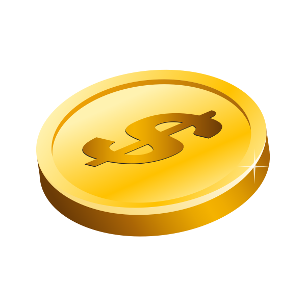 Gold Dollar Coin Vector