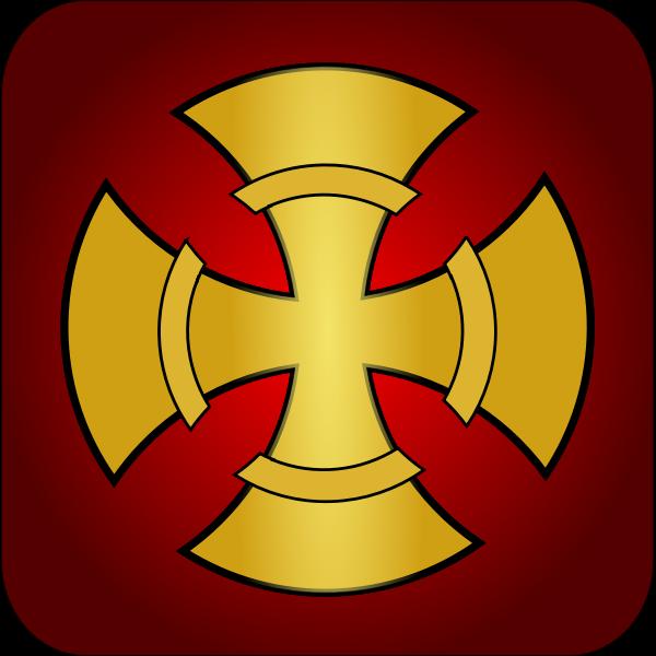 Golden cross vector symbol