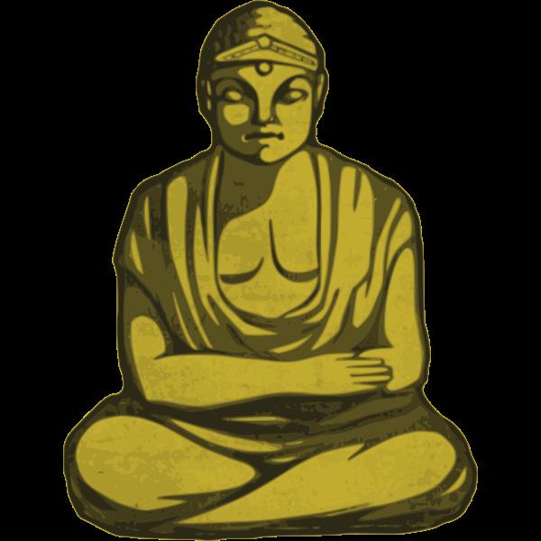 Vector graphics of statue of golden Buddha