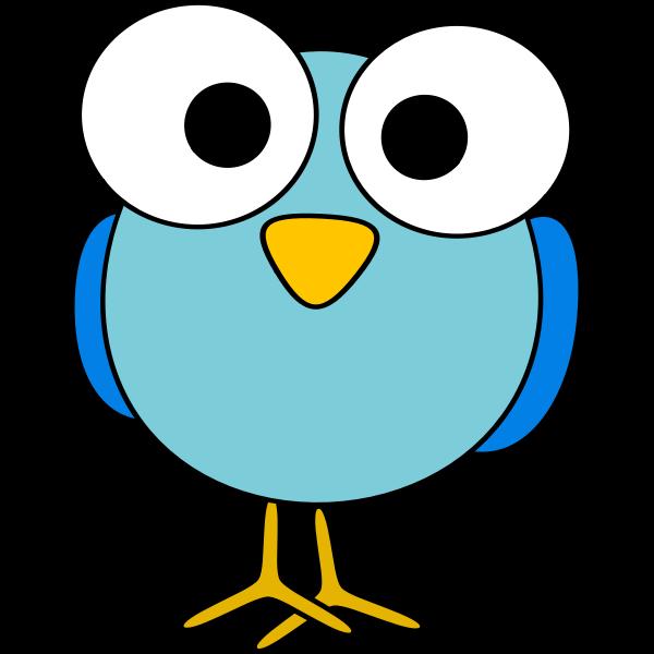 Blue large eyed bird image
