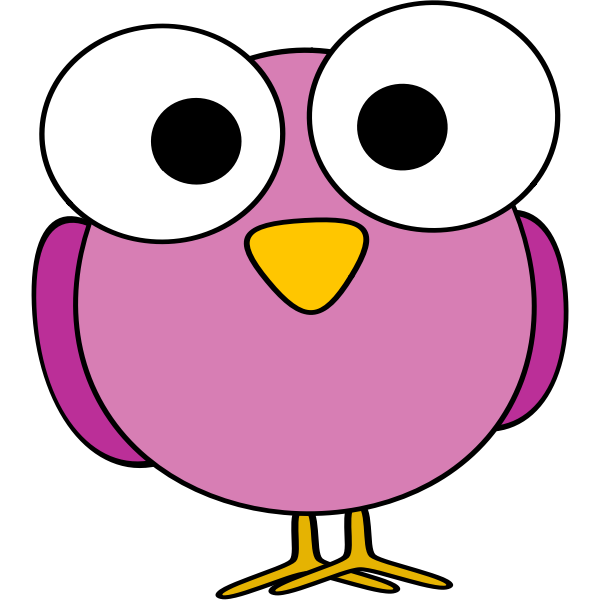 Purple large eyed bird illustration