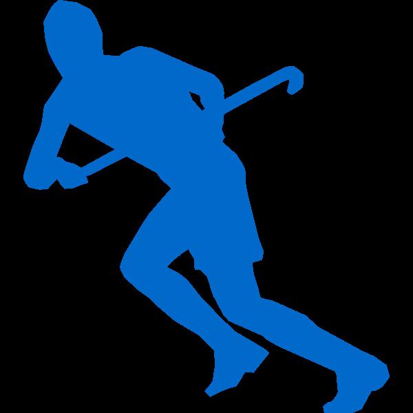 Silhouette vector image of grass hockey team member