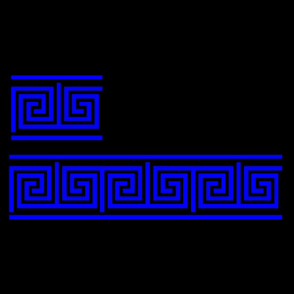 greek key T shape/4 turns/meander/lines