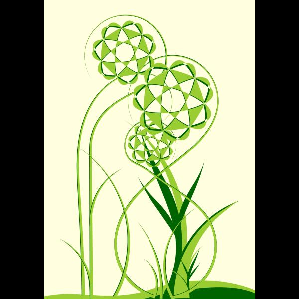 Abstract green flowers vector clip art