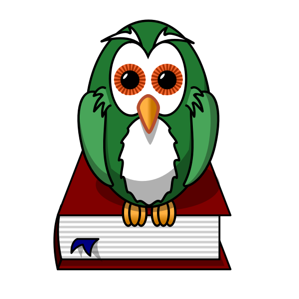Green owl sitting on a book