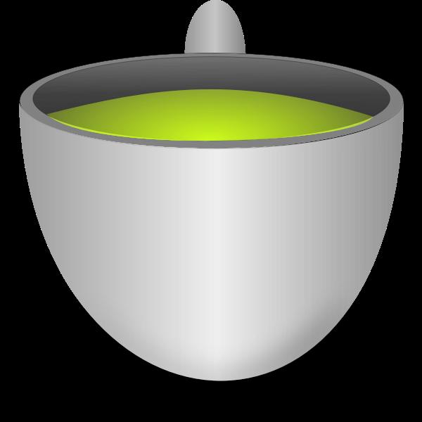 Green tea pot vector drawing