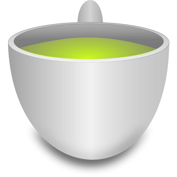 Green tea pot vector drawing