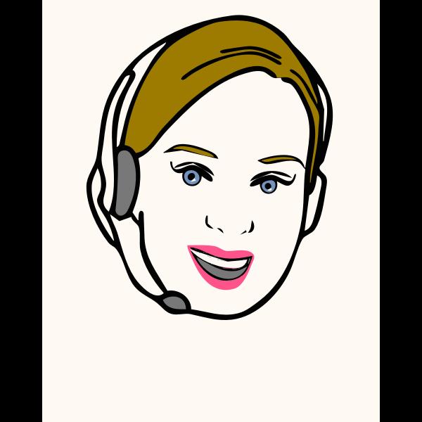Vector clip art of telephone operator avatar