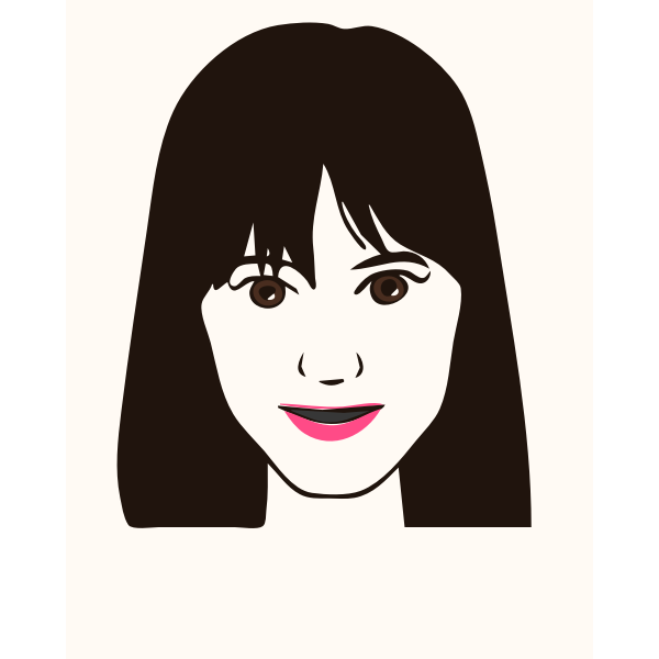Vector illustration of girl with pink lips avatar