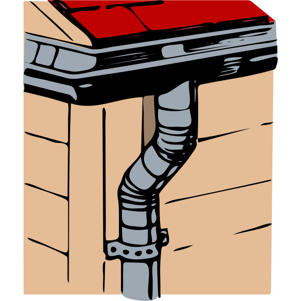 Vector clip art of building with gutter