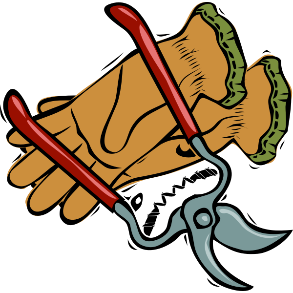 Gloves and cutting scissors vector graphics
