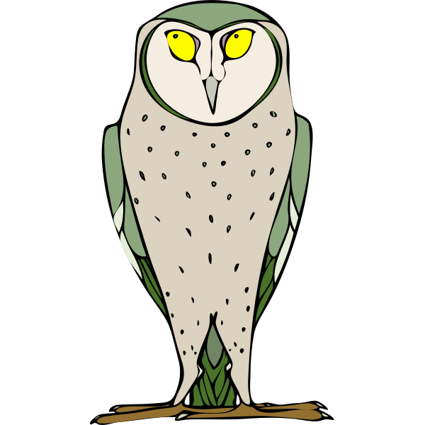 Vector clip art of big grey owl with yellow eyes