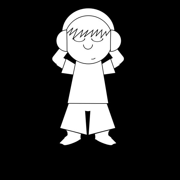 Cartoon guy listening music vector graphics