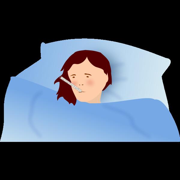 Vector illustration of a feverish woman