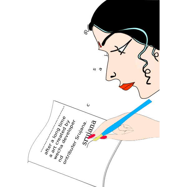 Indian lady writing in diary vector graphics