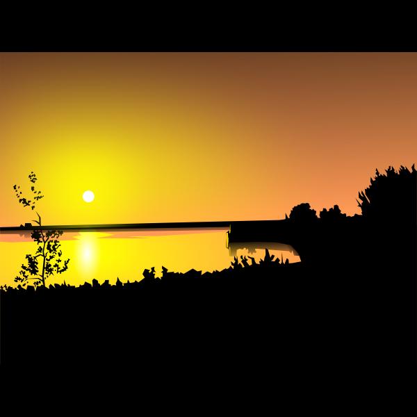 Sunset over coast