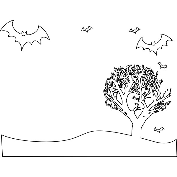 Outline vector illustration of scenery with bats and tree