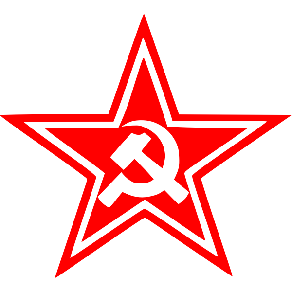 Vector graphics of red sickle and hammer star