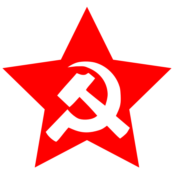 Vector image of large hammer and sickle in star