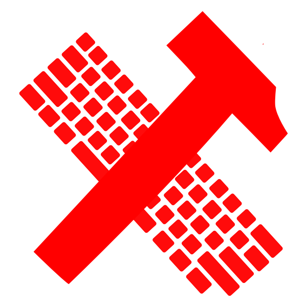 Hammer and keyboard vector image