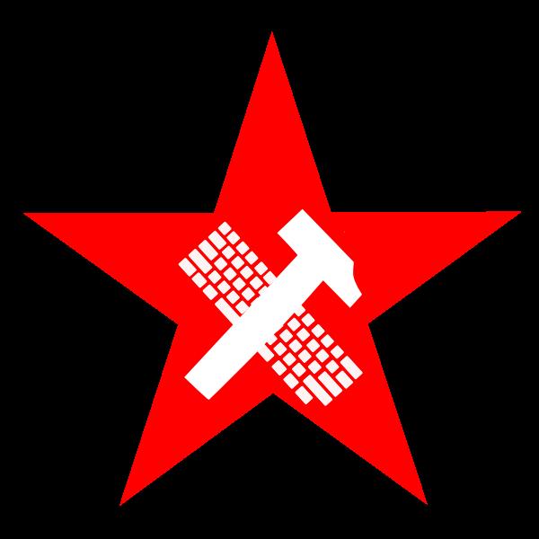 Hammer and keyboard in star vector illustration