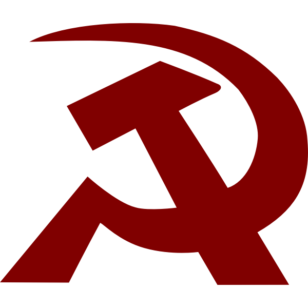 Vector image of tilted thick hammer and a sickle sign