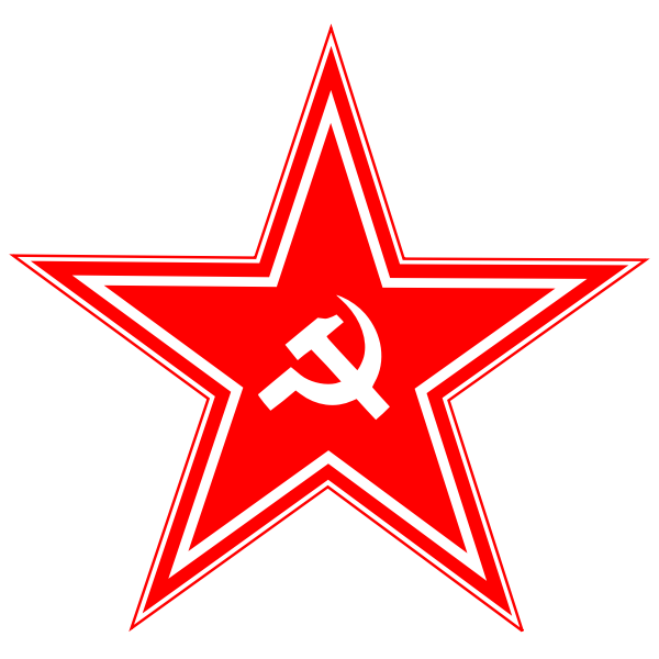 Hammer and sickle in star vector drawing