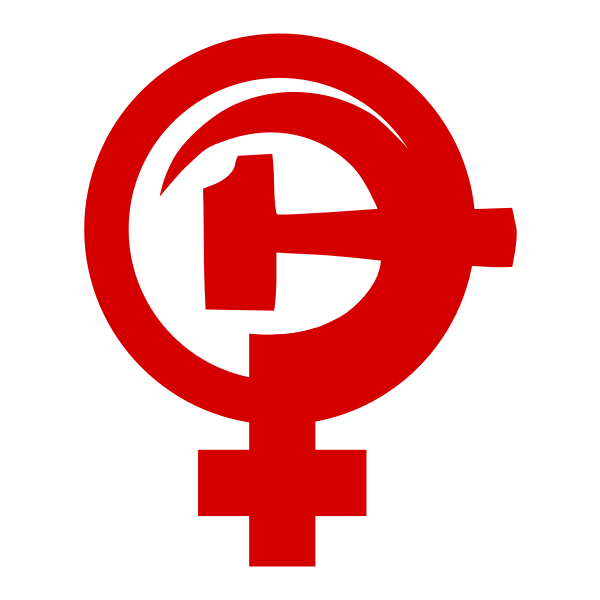 Hammer and sickle with female sign