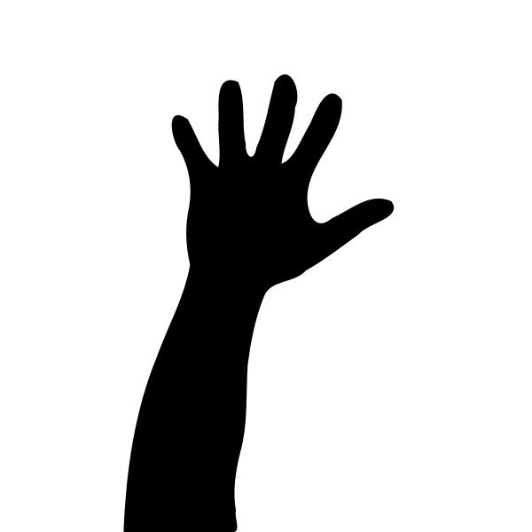 Vector illustration of kid's hand raised up